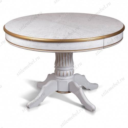 Стол Дуглас-1 ЛАЙТ 1200(1700), цвет белая эмаль с золотой патиной