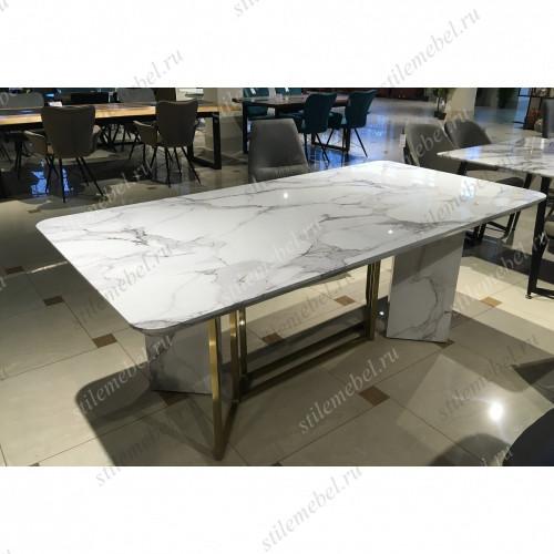 Стол MK-6900-WM белый мрамор+золото