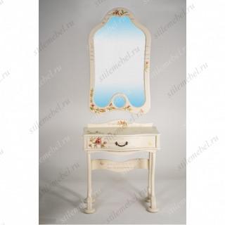 Туалетный столик с зеркалом и банкеткой Джульетта дуб шампань Прованс
