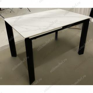 Стол CORNER 120 SINTERED STONE WHITE MARBLE/ BLACK