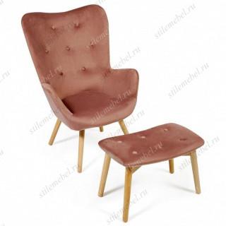 Кресло Secret De Maison Kontour с оттоманкой (mod.1534L) (коралловый)
