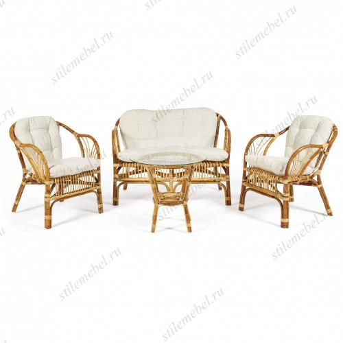 "КОМПЛЕКТ "" NEW BOGOTA ECO SKIN "" ( диван + 2 кресла + стол со стеклом ) /с подушками/"