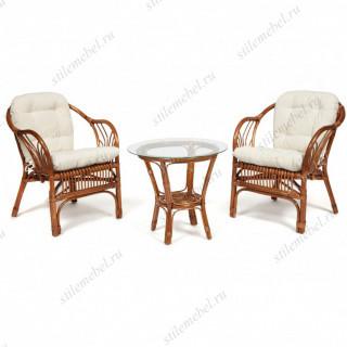 """ТЕРРАСНЫЙ КОМПЛЕКТ """"NEW BOGOTA"""" (2 кресла+стол) /с подушками/ coco brown"""