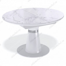 Стол Kenner BR1100 белый/стекло камень белый сатин