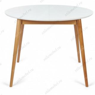 Стол круглый раскладной BOSCO (Боско) Белый+Натуральный