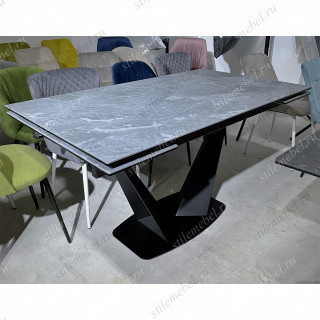 Стол Ниагара 140 Белый мрамор, стекло / черный каркас