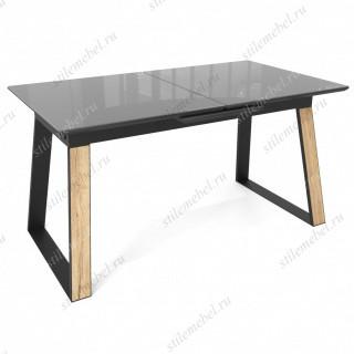 Стол Франк 160 Графит, стекло / Дуб Галифакс, черный