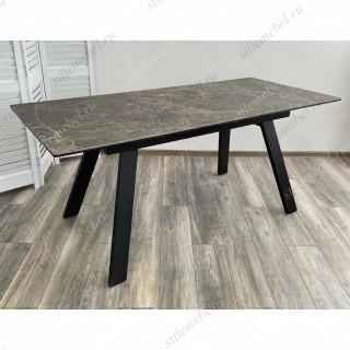 Стол Морис 140 Коричневый мрамор матовый, керамика/черный каркас