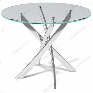 Стол Kenner R1000 белый/стекло прозрачное
