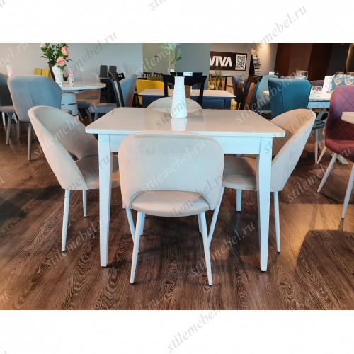 Обеденная группа стол 900М белый/стекло белое и стул 148KS бежевый 06