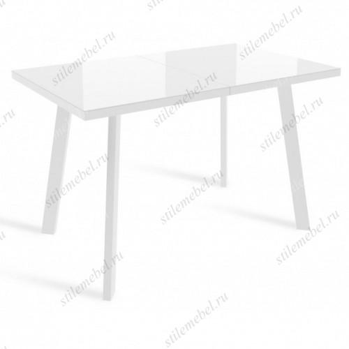 Стол ФИН Белый, стекло/ Белый каркас
