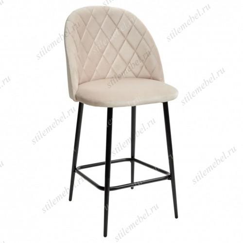 Полубарный стул НИРВАНА, цвет светло-бежевый B-02, велюр / черный каркас H=63cm