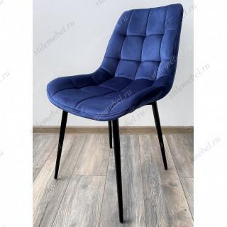 Стул ХОФМАН, цвет темно-синий #H60, велюр / черный каркас