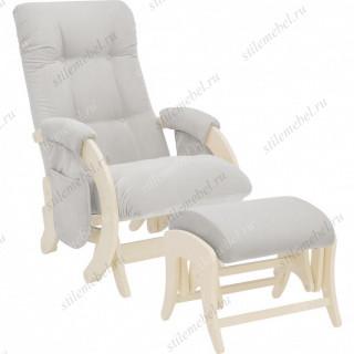 Комплект Кресло для кормления и укачивания + пуф Milli Smile/Uni  дуб шампань, ткань Verona Light Grey
