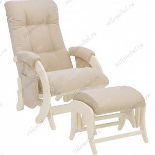 Комплект Кресло для кормления и укачивания + пуф Milli Smile/Uni  дуб шампань, ткань Verona Vanila