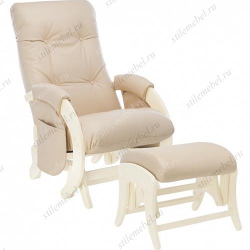 Комплект Кресло для кормления и укачивания + пуф Milli Smile/Uni  дуб шампань, к/з Polaris Beige