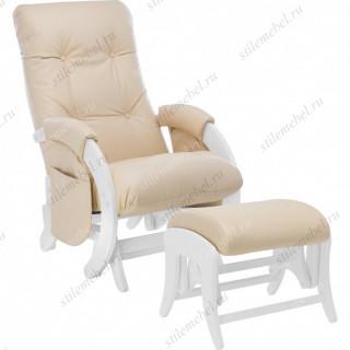 Комплект Кресло для кормления и укачивания + пуф Milli Smile/Uni  Молочный дуб, к/з Polaris Beige