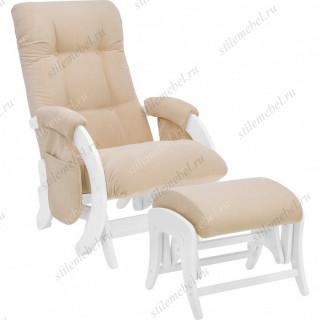 Комплект Кресло для кормления и укачивания + пуф Milli Smile/Uni  Молочный дуб, ткань Verona Vanila