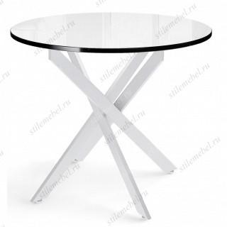Стол DikLine RS90 стекло белое (кромка черная)/опоры белые