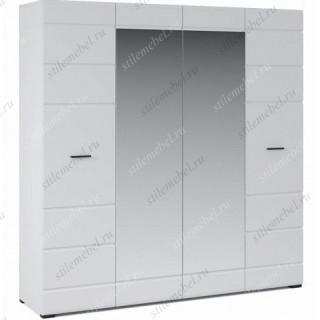 Шкаф Йорк 4дв, Белый/белый глянец