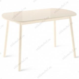 РАУНД стол раздвижной со стеклом 120(152)х70, Кремовый/Кремовый