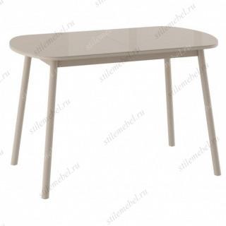 РАУНД стол раздвижной со стеклом 120(152)х70, Капучино/Капучино