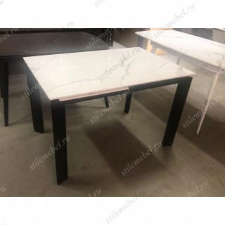 Стол CORNER 120 GLOSS STATUARIO WHITE SINTERED STONE / BLACK