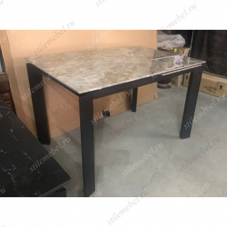 Стол CORNER 120 GLOSS ATHENS BROWN SINTERED STONE / BLACK