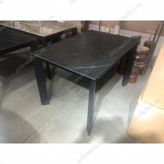 Стол CORNER 120 MATT BLACK MARBLE SINTERED STONE/ BLACK