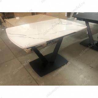 Стол ALATRI 120 GLOSS STATUARIO WHITE SINTERED STONE / BLACK