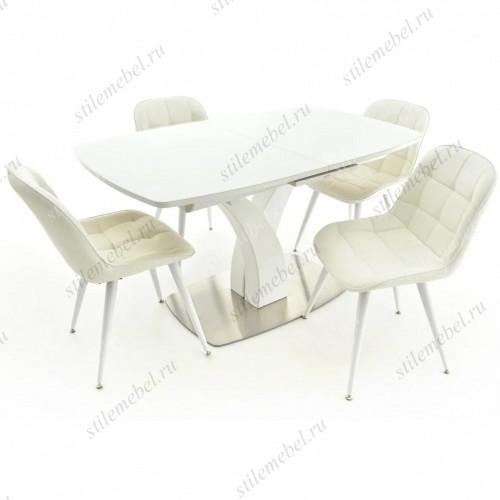 Обеденная группа Нотр-Дам белый/стекло белое/Прованс белый