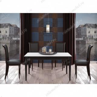 Обеденная группа Стол J1200/1400 венге/стекло белое и 4 стула 119С венге/черный