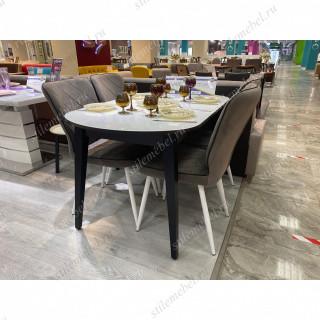 Обеденная группа стол 1300М венге/стекло белое + 4 стула 123 белый V10