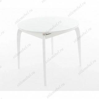 Стол Ривьера круг стекло белый, каркас белый