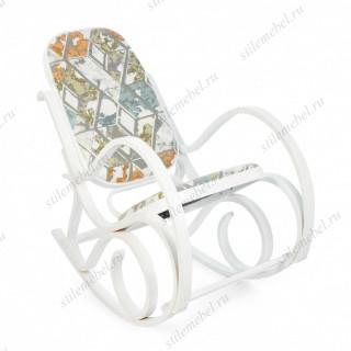 Кресло-качалка mod. AX3002-2 белый #10, ткань орнамент 9068-BL