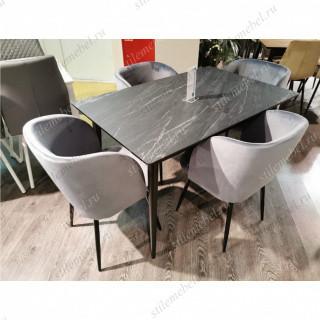 Обеденная группа F1200 черный/серый мрамор/151KS серый 14
