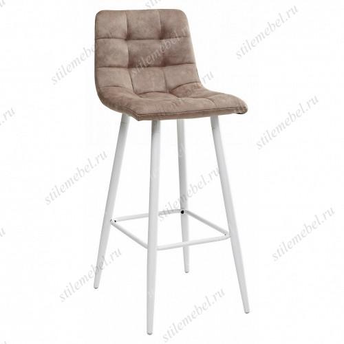 Барный стул SPICE MF-06 теплый серый, ткань микрофибра / белый каркас
