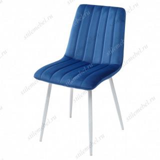 Стул DUBLIN G062-49 синий, велюр / белый каркас