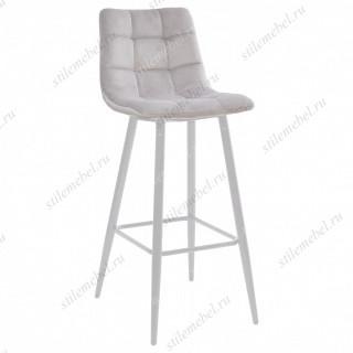 LECCO UF910-02 LIGHT GREY барный стул, велюр/белый каркас
