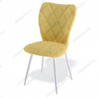 Стул 123S ножки белые/ткань желтая