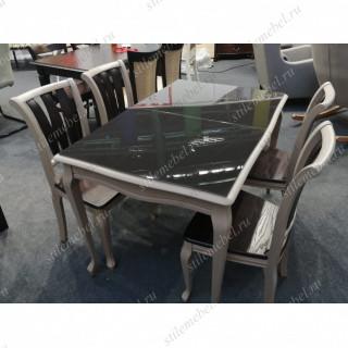 Обеденная группа Кабриоль Glass эмаль белая/стекло черное