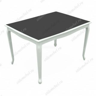 Стол Кабриоль Glass эмаль белая/стекло черное