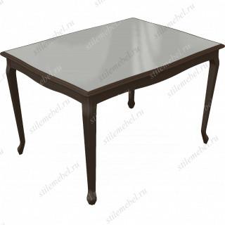 Стол Кабриоль glass орех темный/стекло белое