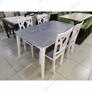 Обеденная группа ENZO и 4 стула STAR серый/белый