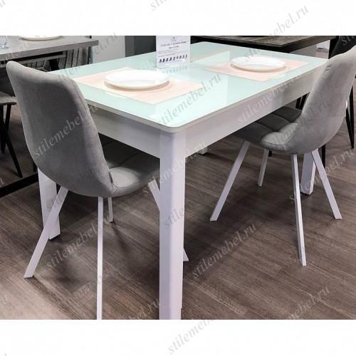 Обеденная группа стол №41 белый/CHILLI SQUARE серо-голубой, ткань UF860-02B/белый