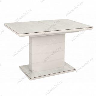 Стол ALTA 120 GREY-WHITE MARBLE/ WHITE глазурованное стекло