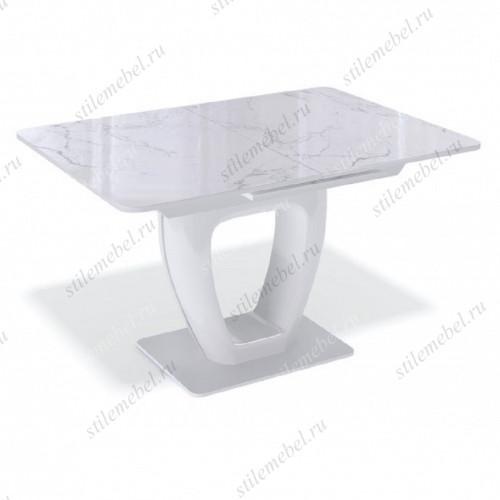 Стол BA1200 белый/стекло камень белый