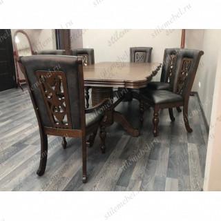 Обеденная группа KRONOS/LUSA Light Walnut (стол, 4 стула и 2 кресла)