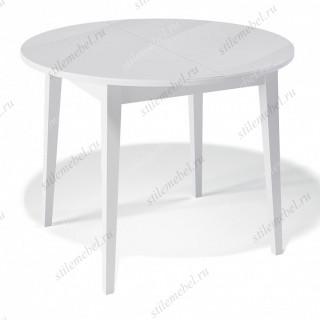 Стол 1000М белый/стекло белое