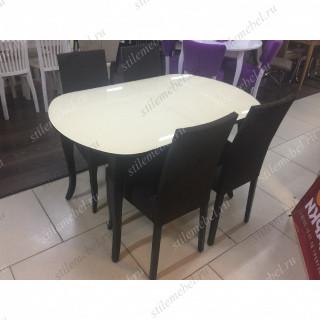 Обеденная группа 1300С венге/стекло крем + 4 стула 101С венге/коричневый